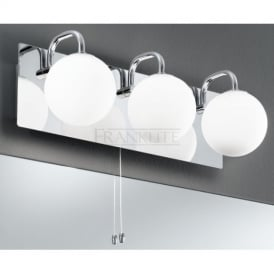 WB1002 3 Light Switched Bathroom Wall Lamp With Opal Shades