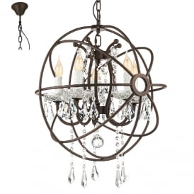 West Fenton 5 Light Ceiling Pendant In Rust Coloured Finish with Crystal Droplets 49741