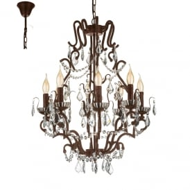 West Fenton 8 Light Ceiling Pendant In Rust Coloured Finish with Crystal Droplets 49737