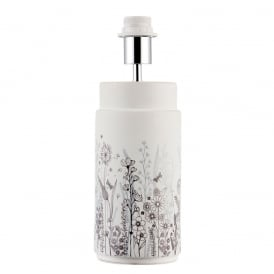 Wild Meadow White Ceramic Table Lamp Base With Printed Flower Scene Design 69959