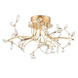 Willa Decorative LED Crystal Semi Flush Ceiling Light In Gold Finish 68885