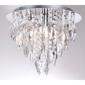 Willazzo 3 Light Flush Ceiling Chandelier With Crystal Style Acrylic Decoration