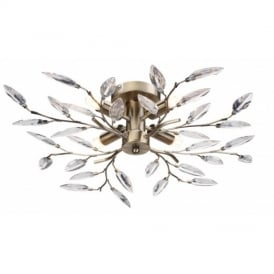 Willow 4 Way Semi Flush Ceiling Light in Antique Brass