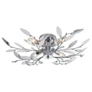 THLC Willow 4 Way Semi Flush Ceiling Light in Chrome with Leaf Detail