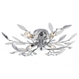 Willow 4 Way Semi Flush Ceiling Light in Chrome with Leaf Detail