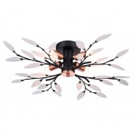 Willow Contemporary 4 Light Semi Flush Ceiling Light In Black Copper Finish