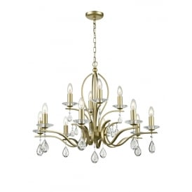 Willow Stunning 12 Light Crystal Ceiling Pendant In Matt Gold Finish FL2384-12