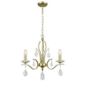 Willow Stunning 3 Light Crystal Ceiling Pendant In Matt Gold Finish FL2384-3