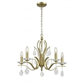 Willow Stunning 5 Light Crystal Ceiling Pendant In Matt Gold Finish FL2384-5
