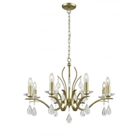 Willow Stunning 8 Light Crystal Ceiling Pendant In Matt Gold Finish FL2384-8