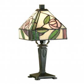 Willow Tiffany Mini Table Lamp With Subtle Coloured Glass 64388