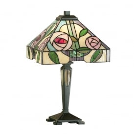 Willow Tiffany Small Table Lamp With Subtle Coloured Glass 64386