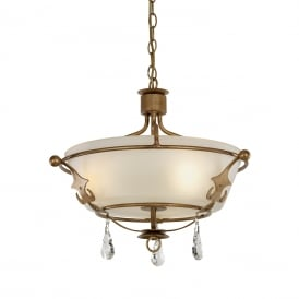 Windsor Stylish 3 Light Semi Flush Ceiling Chandelier In Gold Patina Finish WINDSOR/SF