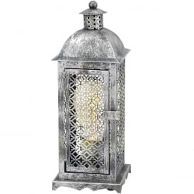 Winsham Decorative Table Lantern In Antique Silver Finish 49286