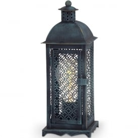 Winsham Decorative Table Lantern In Copper Brown Patina Finish 49285