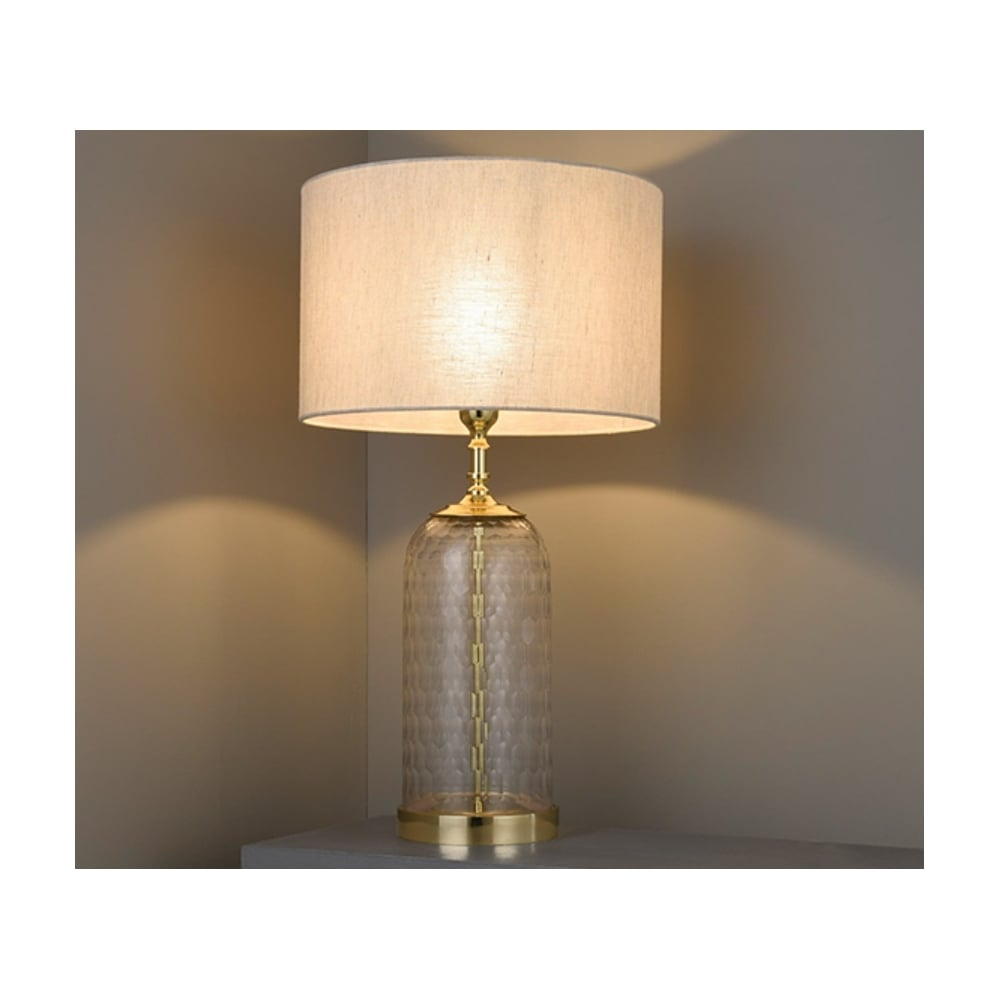 Endon Wistow Hand Cut Glass Table Lamp Base Only In Solid Brass