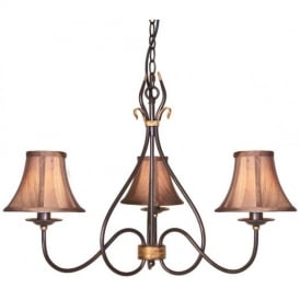 WM3 Rust/Gold Windermere wrought iron chandelier three light