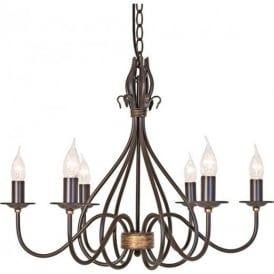 WM6 Rust/Gold Windermere wrought iron chandelier 6 light