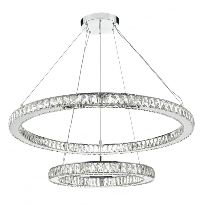 Dar Lighting Wonder LED Crystal Ceiling Pendant Light In Polished Chrome WON2550