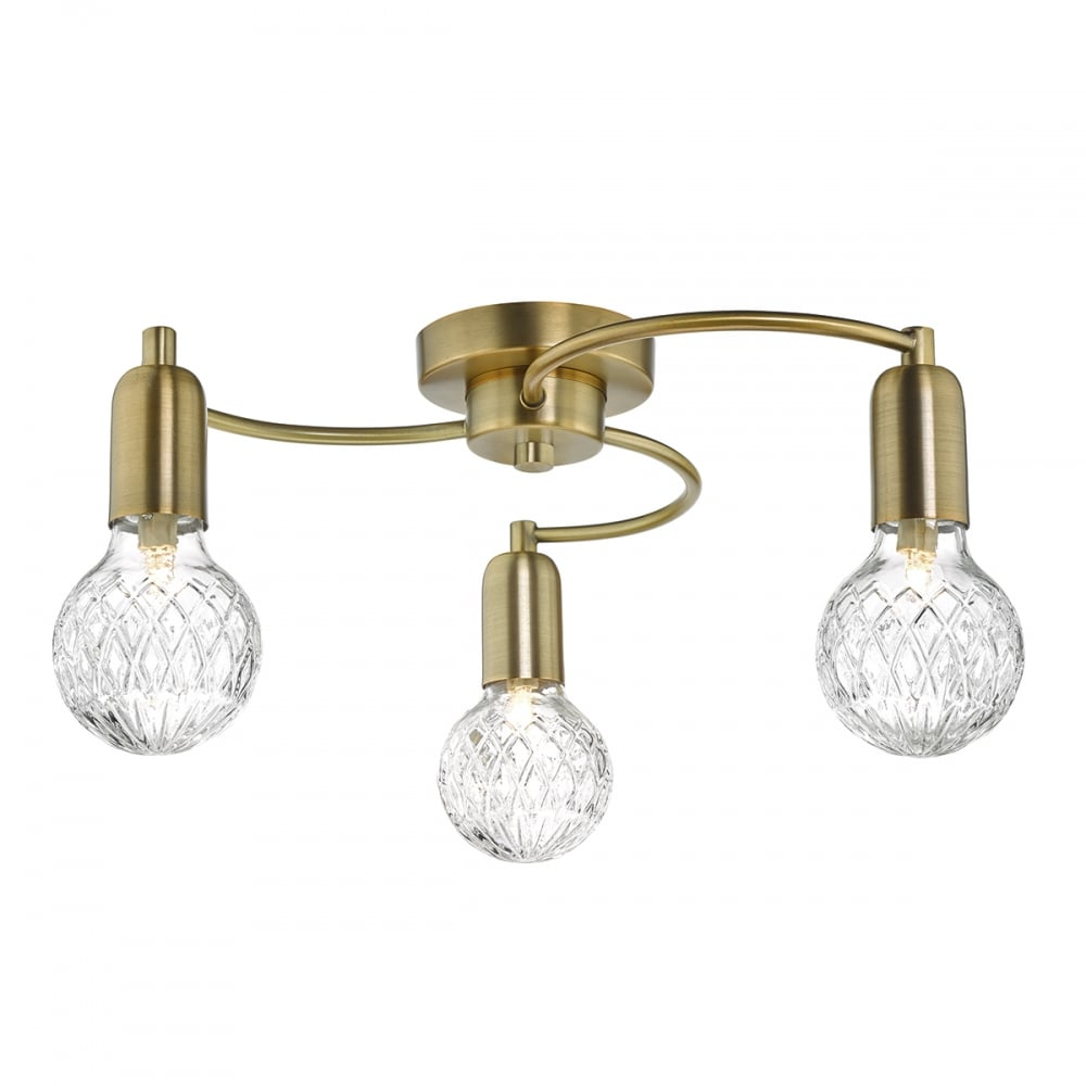 huge selection of cf28b 95e63 Wrexham Modern Semi Flush Ceiling Light In Antique Brass Finish WRE5375