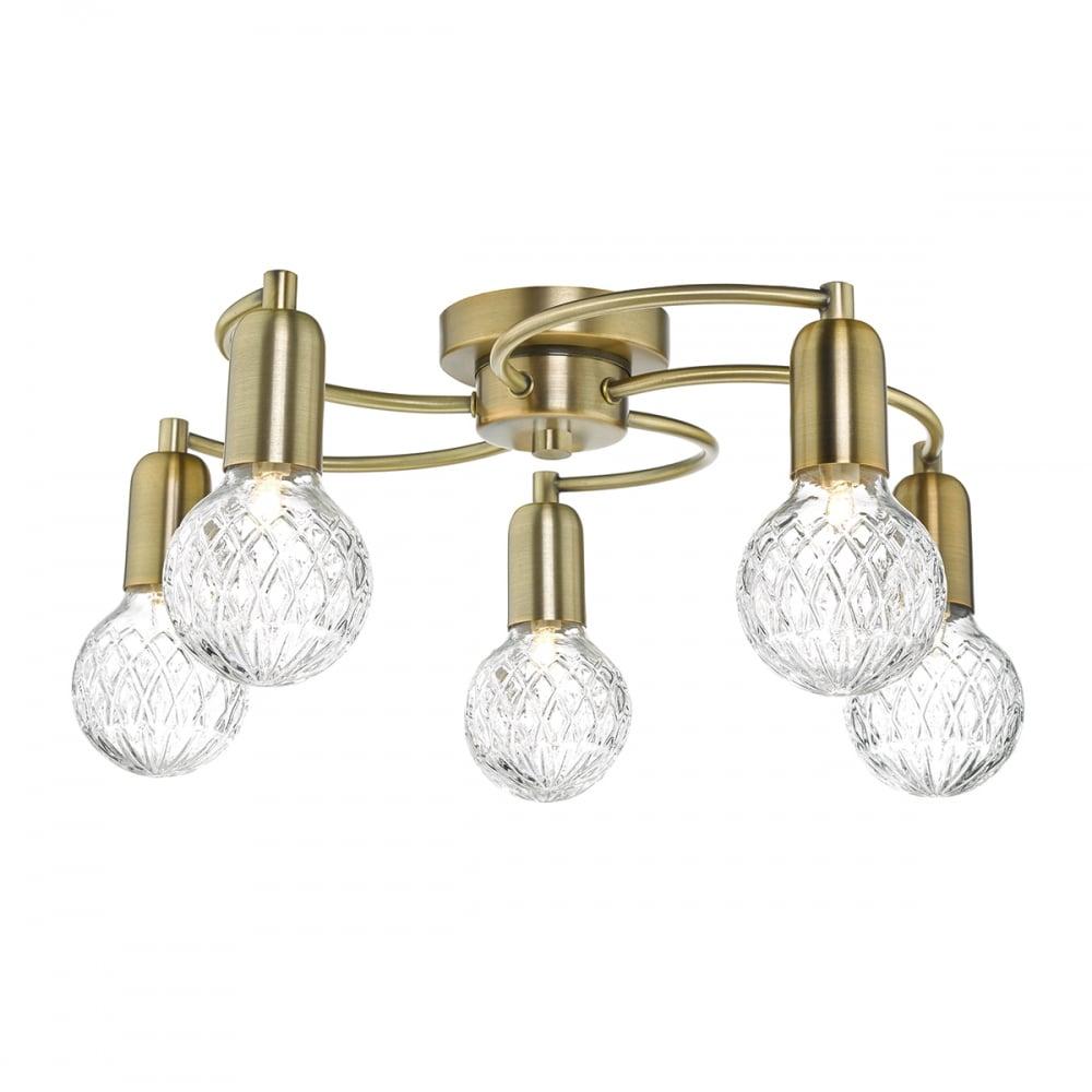 online retailer ca9bf b3764 Wrexham Modern Semi Flush Ceiling Light In Antique Brass Finish WRE5475