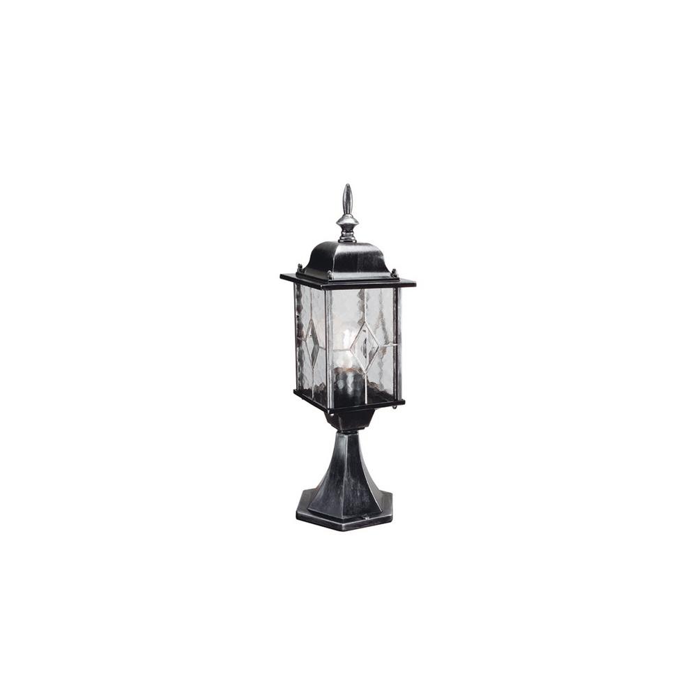 Warwick Pedestal Lantern Light Black: Elstead WX3 Wexford Black/silver Pedestal Exterior Lantern