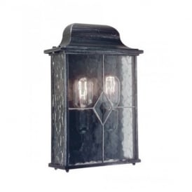 WX7 Wexford black/silver wall half exterior lantern, IP43