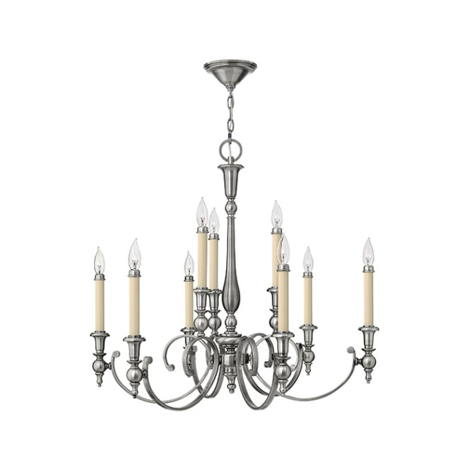Hinkley Yorktown Elegant 9 Light Chandelier In Antique Nickel Finish HK/YORKTOWN9