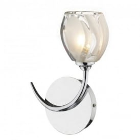 ZAG0750 Zagreb 1 Light Chrome And Glass Wall Light