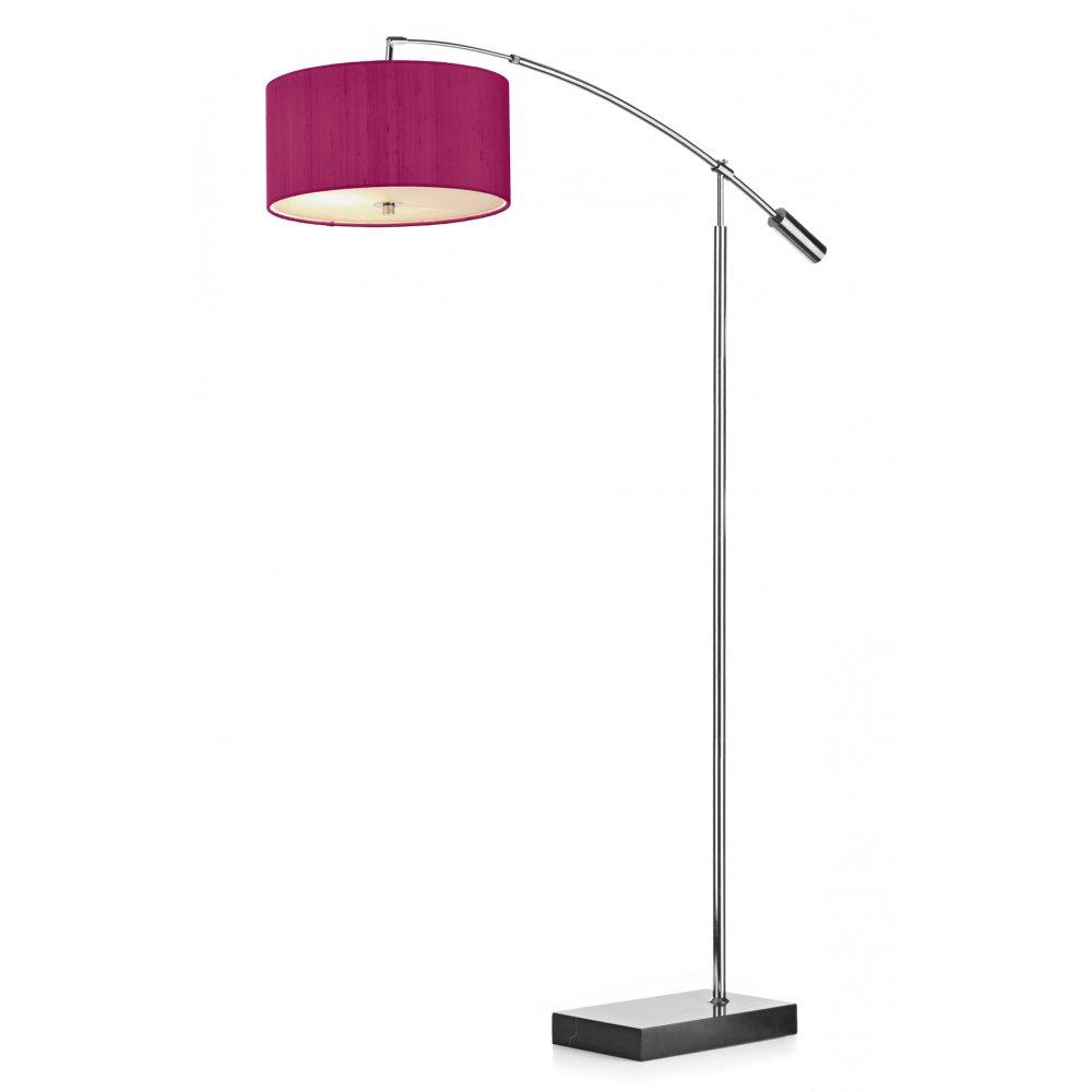 Dar lighting zaragoza floor lamp with pink shade and glass for Floor lamp with pink shade