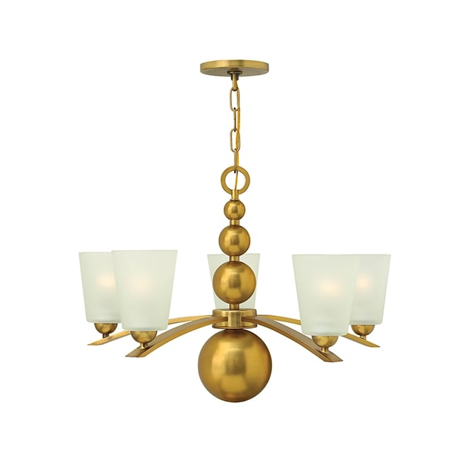 Hinkley Zelda Vintage Etched Glass 5 Light Chandelier In Vintage Brass Finish HK/ZELDA5 VS
